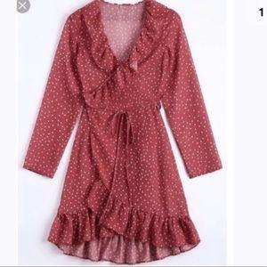 Red Ruffle Star Wrap Dress NWT